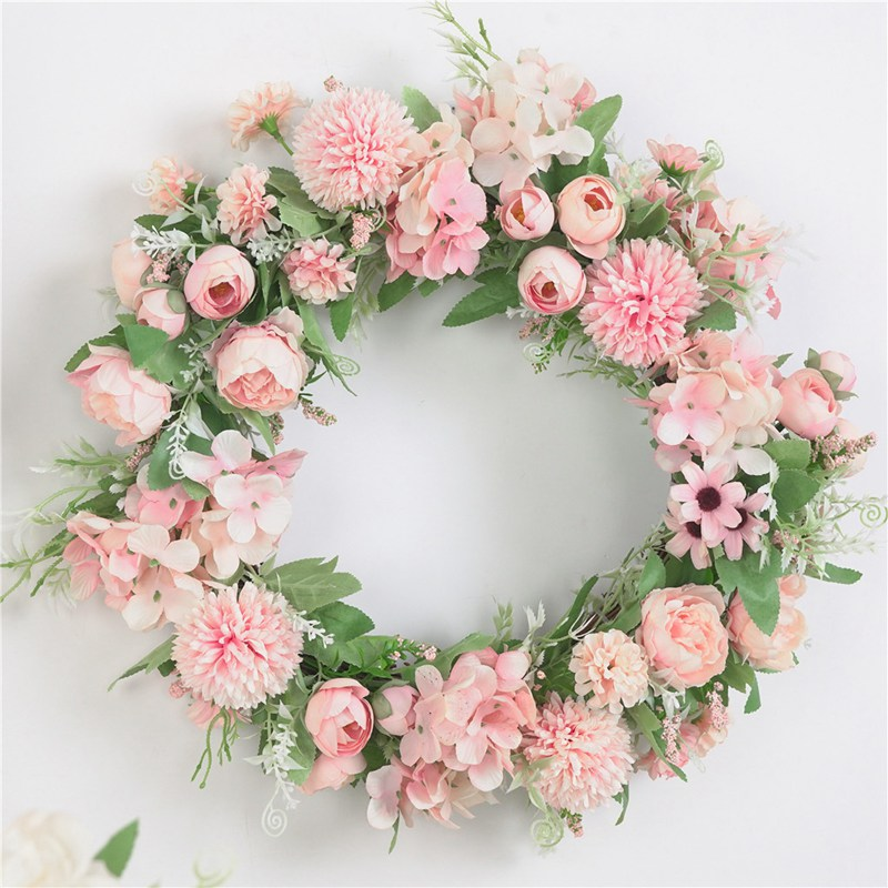 Artificial Flower Wreath Fake Silk Rose Peony Wreath Window DIY Wedding Decoration Colorful Garland Home Wall Hanging Door Decor