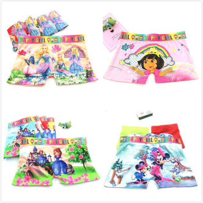 4pcs/lot Girls Boxer Briefs Children Underwear Princess Kids Infant Baby Panties Wholesale For 2-12y