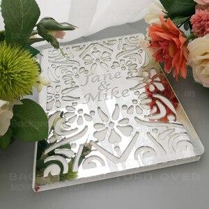 Image 4 - パーソナライズされた結婚式ゲストブックアルバムカスタムsignaturオーバルホワイト空白の内側のページmirro名日付ブライダルパーティーギフト装飾G009
