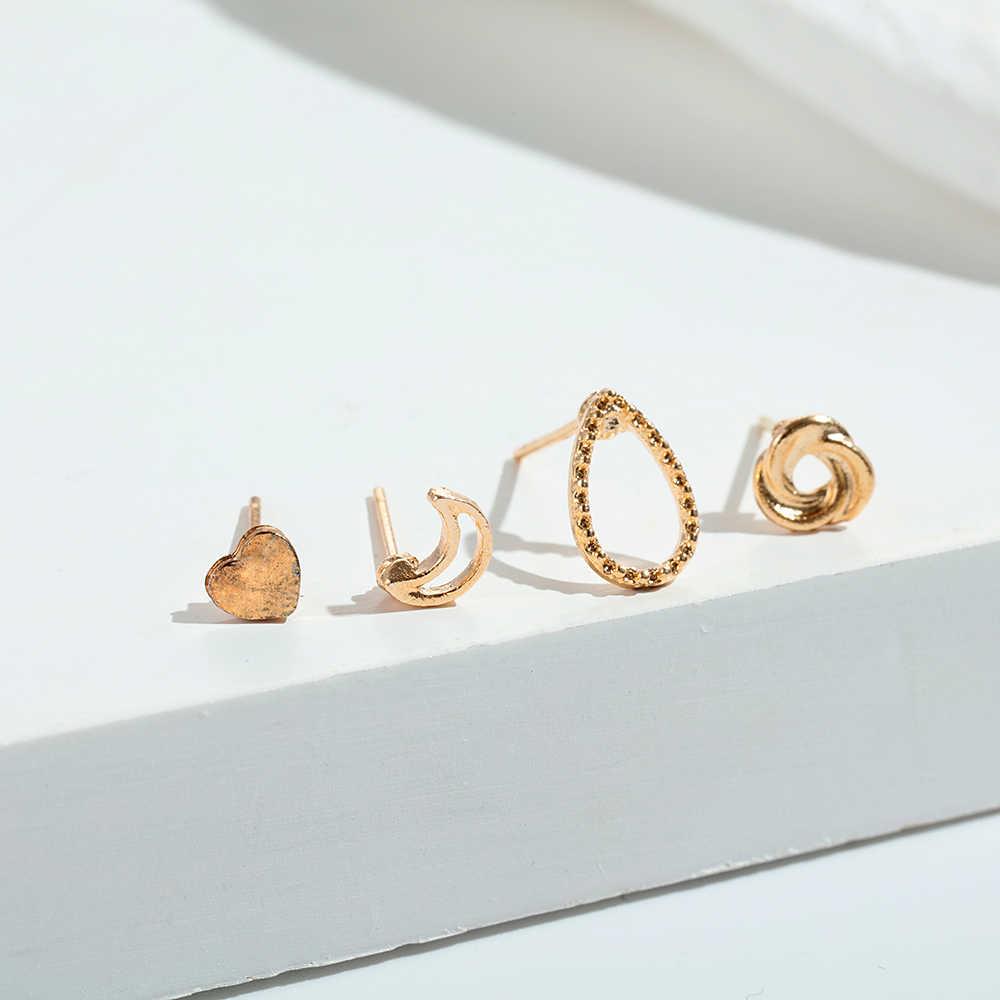 בציר מעורב מתכת זרוק להתנדנד עגילי סט לנשים נשי זהב קריסטל ירח כוכב מפת צלב קטן שרוול קליפ תכשיטים