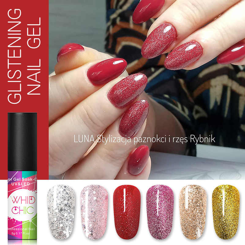WHID CHICL Holographici Bling Lantejoulas Glitter Colorido UV Gel Unha Polonês Embeber Off Polonês Gel UV Nail Art Polonês 5ml