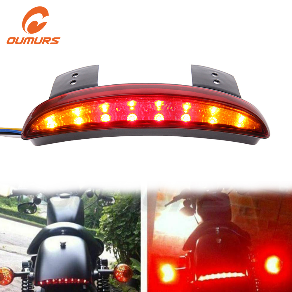 OUMURS Motorcycle LED Stop Brake Running Tail Light Turn Signal Lamp For Harley Sportster 1200 Roadster Iron 883 Softail Dyna 48