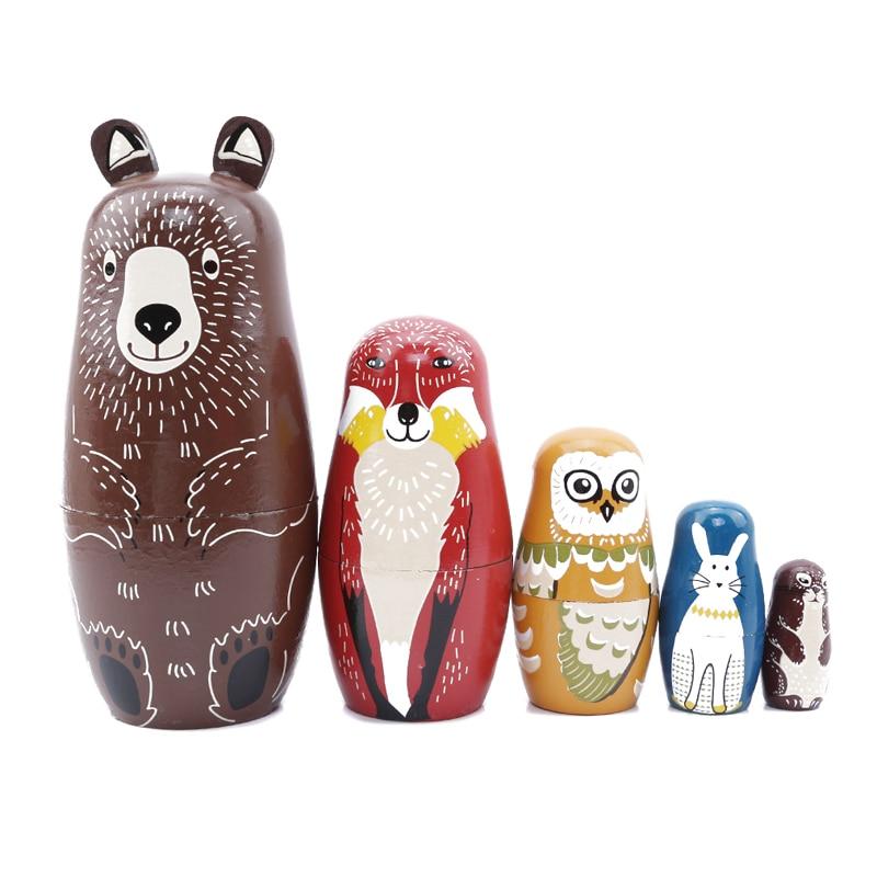 5 Teile/satz Holz Bär Eule Kaninchen Muster Matryoshka Puppen Nette Tier Design Russian Nesting Dolls Baby Geschichte Zubehör Spielzeug Geschenk