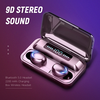 KUGE TWS Bluetooth 5 0 słuchawki 2200mAh etui z funkcją ładowania słuchawki bezprzewodowe 9D Stereo słuchawki sportowe słuchawki z mikrofonem tanie i dobre opinie Inne Bezprzewodowy + Przewodowe