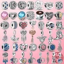 Breloque en argent Sterling 925 pour la famille, arbre, étoile, lune, cœur, main, Hamsa, Fatima, bracelet Pandora Original, argent 925