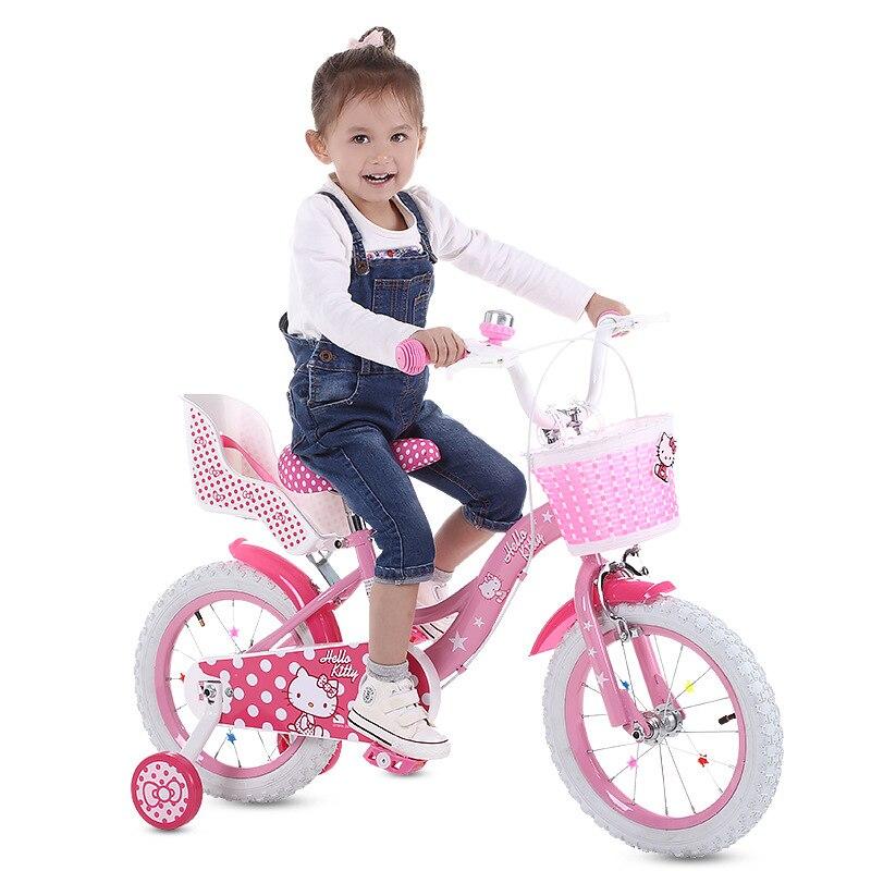 Kitty Cat Kids Bicycle Ride On Car Toys For Children Boys Girls Toddler Toys 12/14/16inch Baby Walker Big Wheel Kids Bike Car