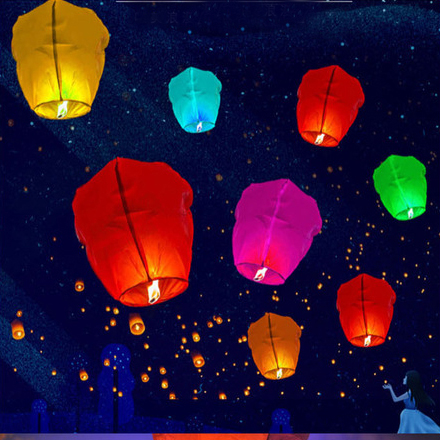 1pc Night Party Candles Flying Lights Wishing Valentine's Day Holiday Hot Air Balloons DIY Fire Lights Friends Family Christmas