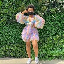 Цветной женский фатиновый комплект Радужный топ из тюля и юбка
