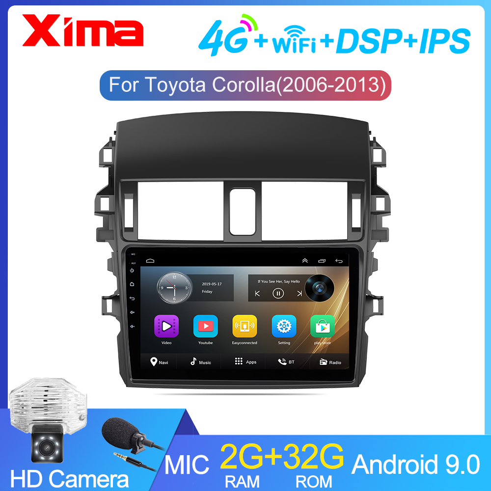 9 Inch 2Din android 9.0 Car Radio Multimedia Player For Toyota Corolla E140/150 2007 2008 2009 2010 2011 2012 2013 2014-2016(China)
