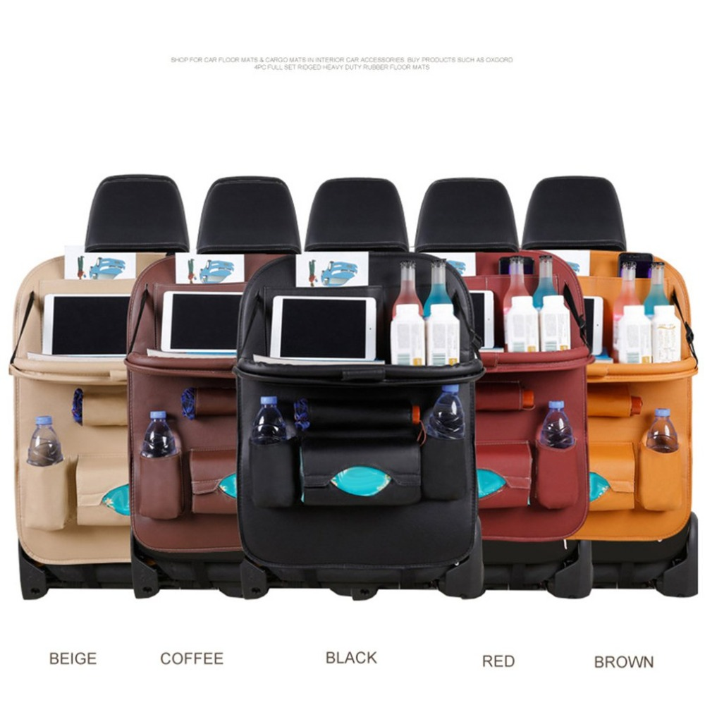 PU Leather Car Seat Back Organiser with Foldable Tray 4