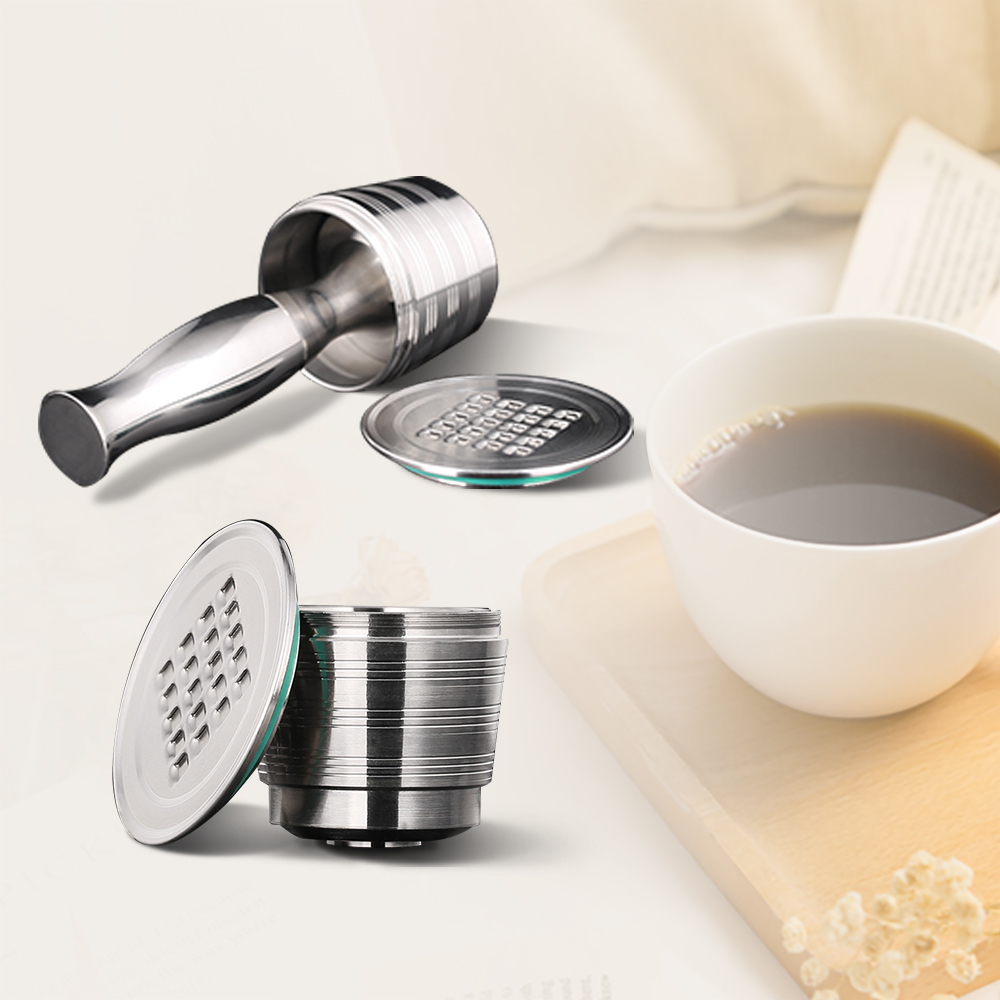 Nespresso Stainless Steel Refillable Coffee Capsule Coffee Tamper Reusable Coffee Pod Business Birthday Coffeeware Gift 4PC/Set(China)