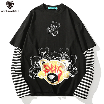 Aolamegs Fake 2 Pieces Striped Printed Long Sleeve Bear Graphic T Shirts Men O-Neck Cotton Harajuku Baggy Tee Shirts Streetwear cutout neck bell sleeve striped tee