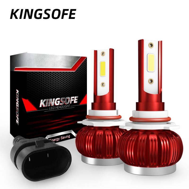 KINGSOFE 2 Pcs H1 H4 H7 H11 9005 9006 LED Headlight Conversion Kit COB Light Bulb 90W 26000LM High Power White 6000K Foglight