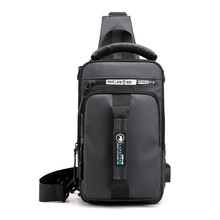 Men Chest Bag Large Capacity Shoulder Bags Casual Crossbody Bag Mens USB Charging Chest Packs Sling Messenger Shoulder Bag