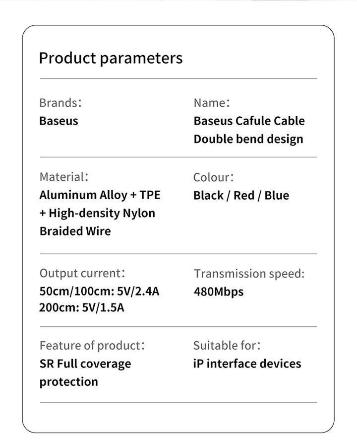 Baseus usb кабель для зарядки с двойным изгибом для iPhone 11 XS Max XR 8 Plus 2.4A быстрое зарядное устройство кабель для передачи данных USB шнур для зарядки