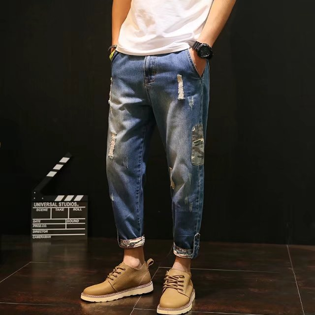 2017 Autumn With Holes Jeans Men's Loose-Fit Capri Pants Trend Retro Students Youth Scraping Rotten Ripped Jeans Men's Trousers