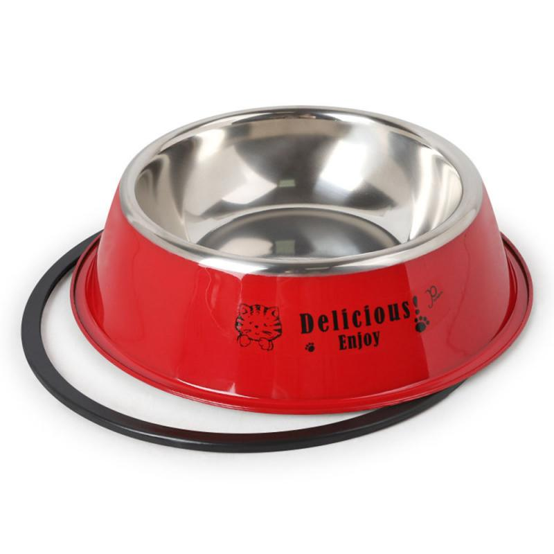 Durable Stainless Steel Non-Slip Dog Puppy Cat Animal Feeding Food Bowl Dish Random Color Water Bottle Food Dropshipping 15