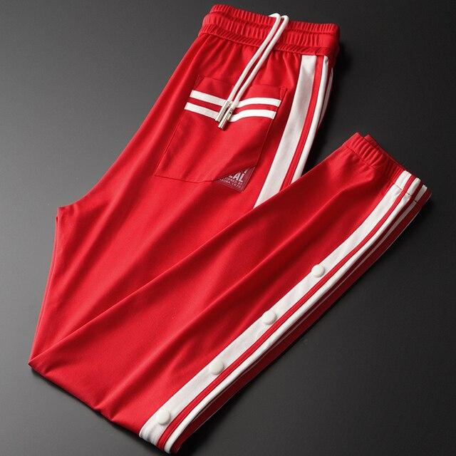 Minglu אדום Mens מכנסיים יוקרה אביב ובסתיו סרט קצה גברים מכנסיים בתוספת גודל 3XL 4XL אלסטי מותן Slim Fit ספורט מכנסיים Man