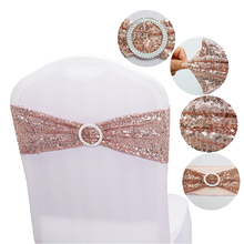 Stretch-Bands Chair Sashes Party-Decoration Rose-Gold Wedding-Events Round-Buckle Sequin