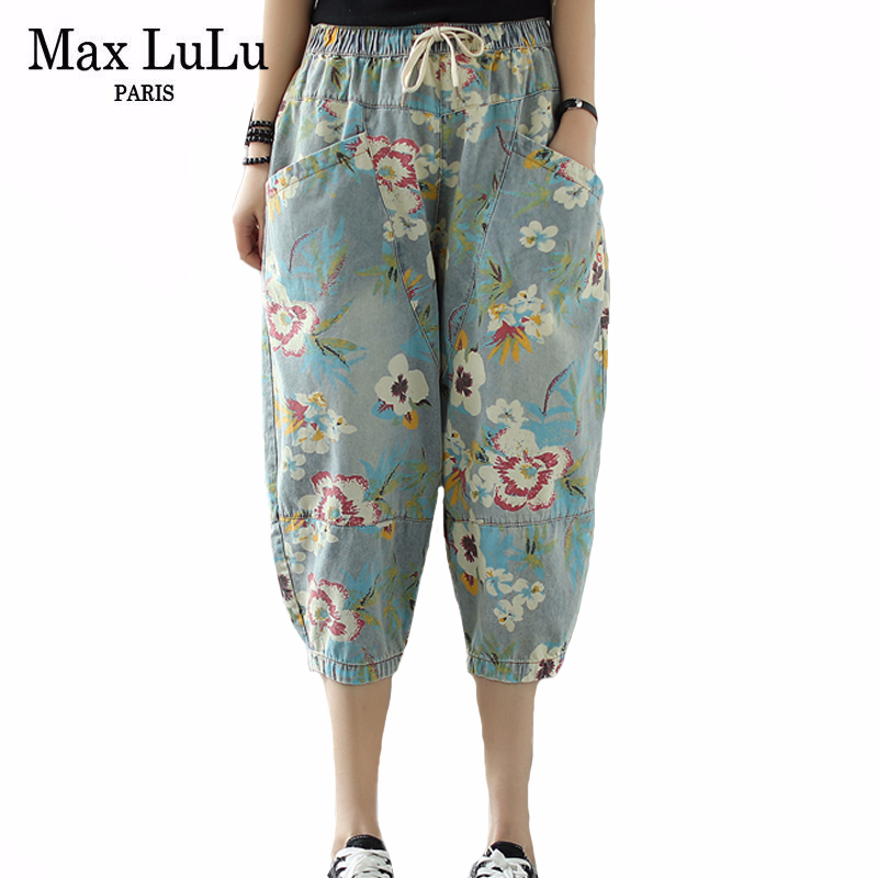 Max LuLu 2020 Korean Fashion Style Summer Ladies Vintage Harem Pants Womens Casual Floral Printed Jeans Elastic Denim Trousers