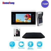 Homefong Wifi Telefone Video Da Porta Campainha Intercom Sistema AHD 720P Detecção de Movimento de Gravação de Cartão SD