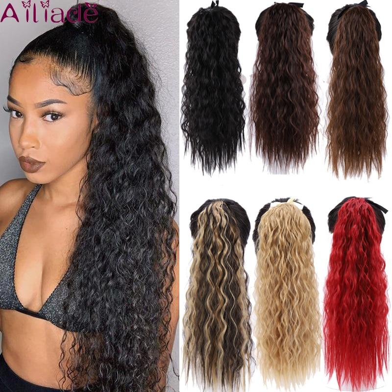 Высокотемпературные волосы AILIADE Синтетические афро кудрявые волосы конский хвост накладные волосы со шнурком хвост удлинитель волос 22 дюй...
