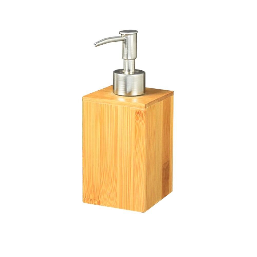อุปกรณ์เสริมสบู่ Dispenser คอนเทนเนอร์ทนทานโรงแรมไม้ไผ่บีบกด Home ห้องน้ำโลชั่น Sanitizer Storage