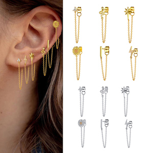 snake for Women ear wire silver chain earrings 925 Sterling silver Crystal Earrings 2020 popular Gold Color Chain earrings gift