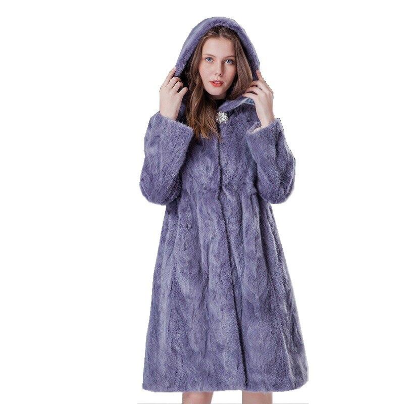Luxus Echtem Nerz Mantel Jacke mit Hoody Herbst Winter Echte Frauen Pelz Oberbekleidung Plus Größe 3XL LF9069