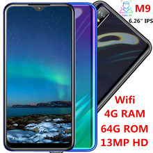 M9 Global 4G RAM 64G ROM smartphones Water drop screen 6.26inch quad core 13mp Face ID unlocked android mobile phones celulares