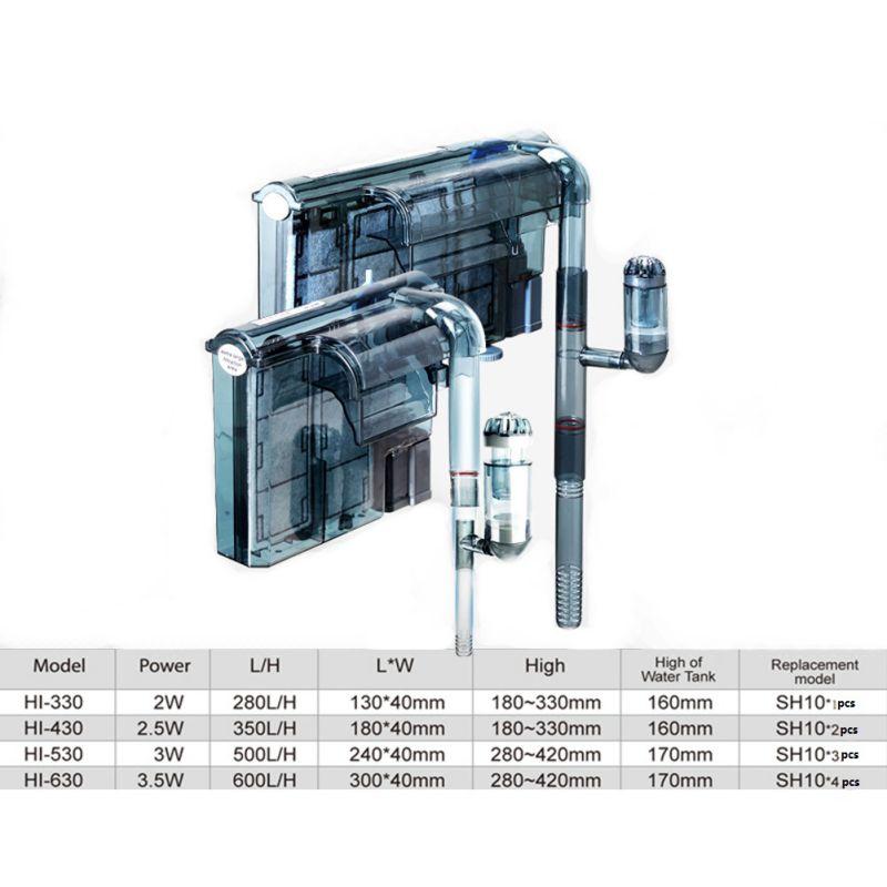 HI 330 430 530 630 Filter Leecom Waterfall Hanging Filter HI 330 430 530 630 With Surface Skimmer