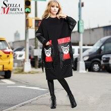 2020 Women Autumn Winter Black Midi Dress Plus Size Long Sleeve Cartoon PU Pocket Fringes Ladies Cute Large Dress Big Robe 3084