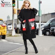 2020 mulheres Outono Inverno Preto Midi Vestido Plus Size Manga Comprida Franjas Senhoras Bonitos Dos Desenhos Animados PU Bolso Grande Vestido Grande robe 3084
