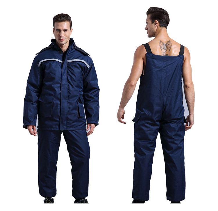 Winter Working Clothing Men Cold Storage Overalls Thick Warm Clothing Bib Cotton Suit Set Split Protective Safety Clothing (2)