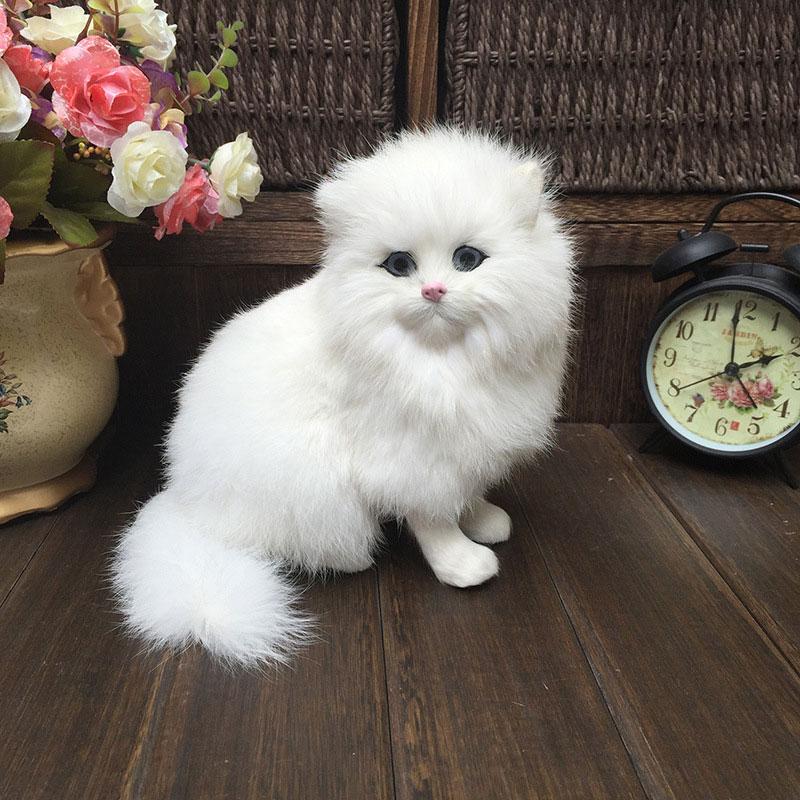 2 x Adorable Realistic Faux Fur Cats Furry Feline Figurines Miniature Decoration