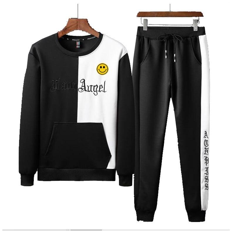 Men Smail Patch Walk Jogging Full Outdoor Gym TrackSuit Sport Jacket Coat Bottom Top Suit Trousers Pants Track Suit Outfit