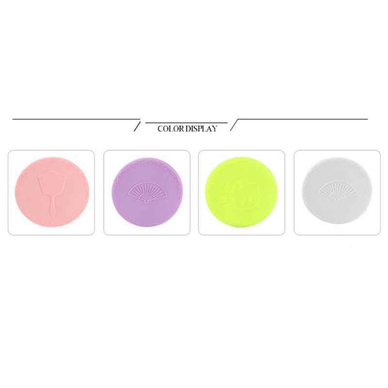 7 سنتيمتر/2.76in الإبداعية الكرتون تنقش جولة البسيطة مرآة جيبية للماكياج واحد الجانب المدمجة التجميل أداة السفر المحمولة