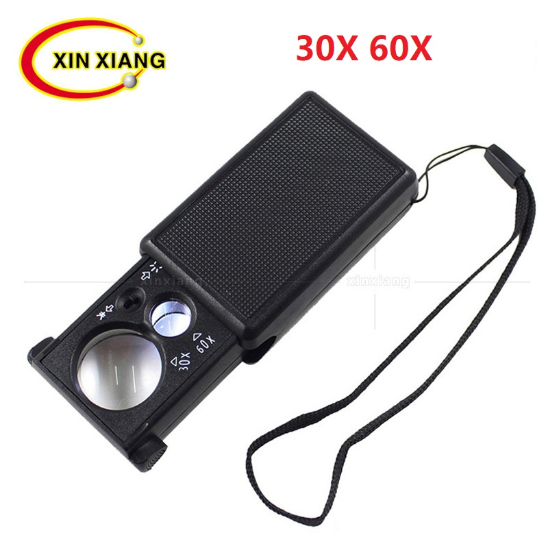 Handheld Magnifier For Stamps Jewelry Loupe 30X Illuminated Handheld Magnifier Led Jewelers Loupe 60x Pocket Magnifying Glass