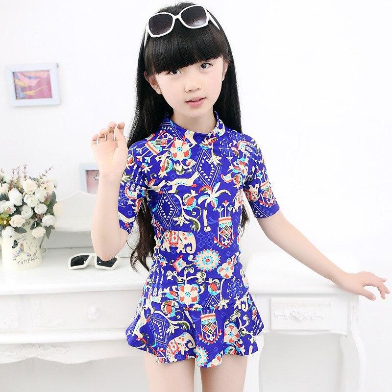 Place Of Origin Supply Of Goods CHILDREN'S Swimwear Sexy Haiyishan Printed Girls Split Skirt Sun-resistant Big Boy Bathing Suit