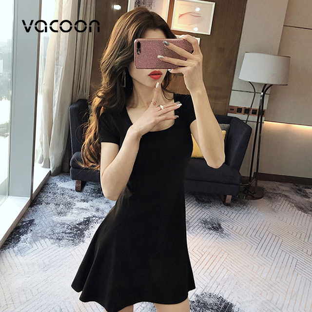 נקבה קיץ כותנה שמלת אישה קיץ מסיבת לילה מזדמן רופף אלגנטי שמלה אדום שחור Slim שמלה