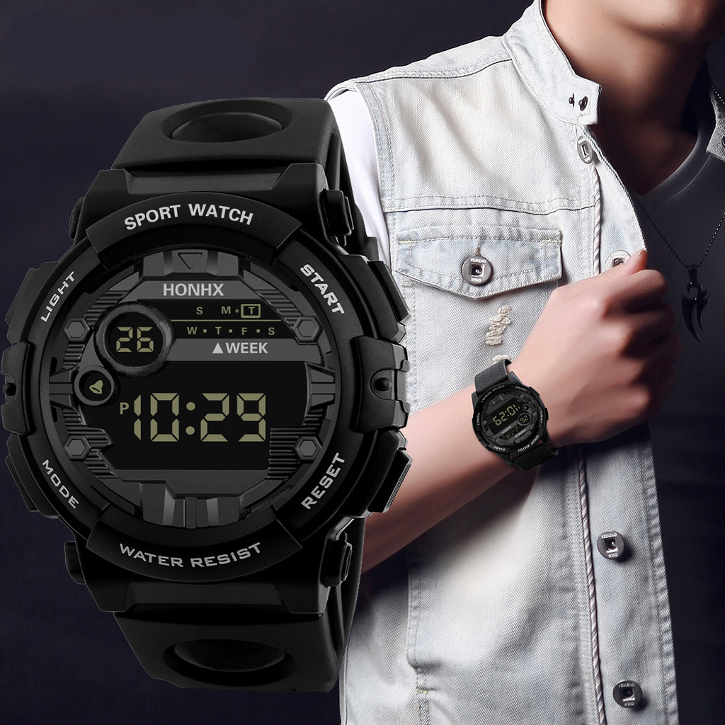 Waterproof Men Women Digital Watch LED Sport Watch Glass Dial Silicone Wristwatch Reloj Deportivo Hombre Reloj Digital Monter @5
