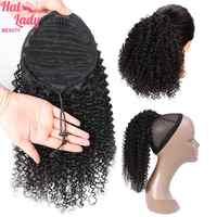 Halo Lady Beauty-coleta rizada Jerry para mujer, extensiones de cabello humano no Remy con Clip brasileño, Color natural
