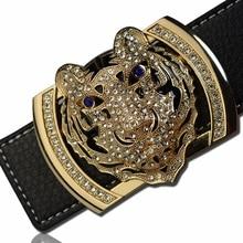 2020 Luxury Brand Belts for Men Fashion Shiny Diamond Domineering Tiger Head Buckle Waist Shaper Leather Belts