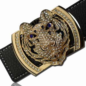 Image 1 - 2020 Luxury Brand Belts for Men Fashion Shiny Diamond Domineering Tiger Head Buckle Waist Shaper Leather Belts
