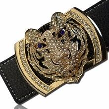 2020 cintos de marca de luxo para homens moda brilhante diamante dominador cabeça do tigre fivela cintura shaper cintos de couro