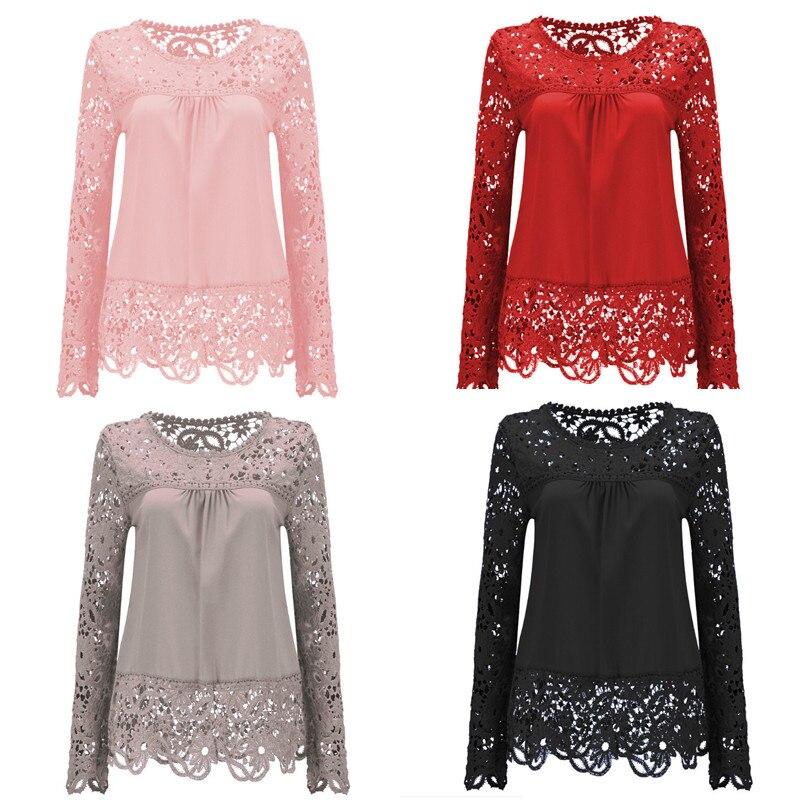 New Fashion Chiffon Blouse Shirt  Lace Floral 1Pcs Hollow Long Sleeve Shirt Crochet Embroidery Women Casual Plus Size