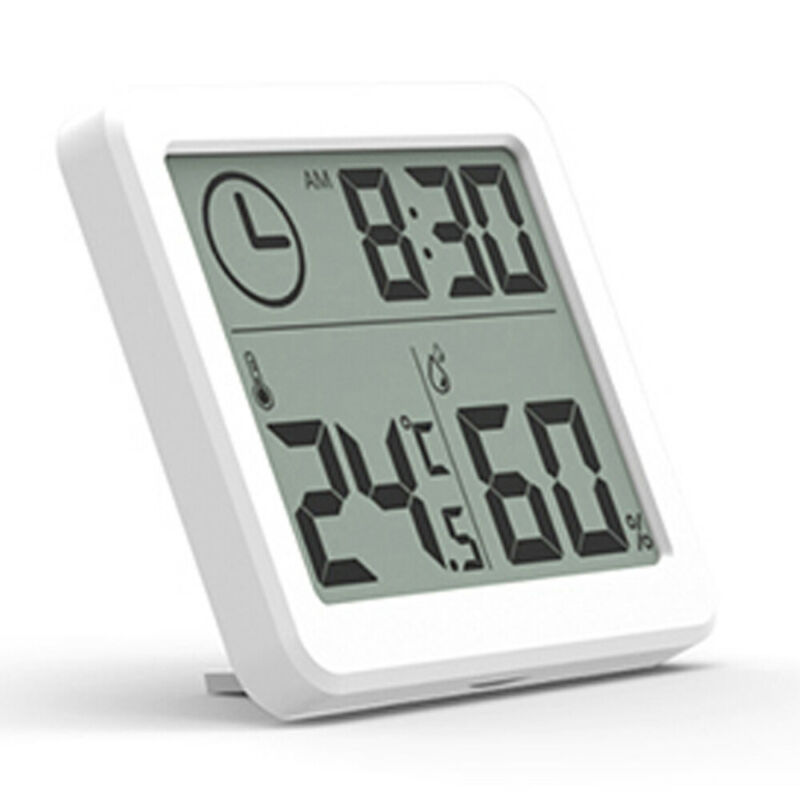 1PC LCD Digital Temperature Humidity Meter Home Indoor Outdoor hygrometer thermometer Weather Station with Clock