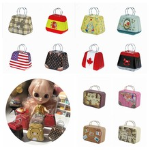 1PCS 1/6 Doll Bags Dollhouse Miniature Metal Trunk Bag Suitcase for Blyth,Licca,Momoko,Barbies,Bjd,Pullip Doll Bag Accessories(China)
