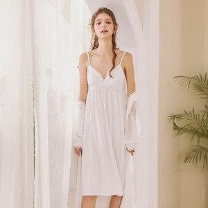 Image 4 - Roseheart Nữ Thời Trang Trắng Bông Màu Hồng Gợi Cảm Đồ Ngủ Cổ V Váy Ngủ Váy Ngủ Nữ Ren Váy Ngủ Đồ Ngủ Ban Đêm
