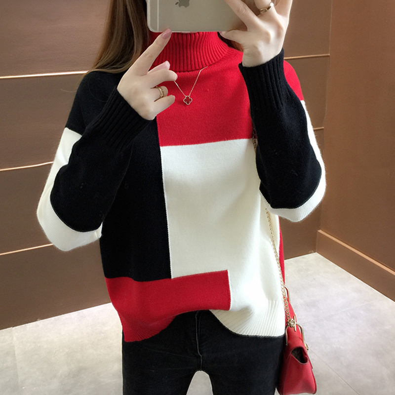 Oversized Knitted Sweater Women Red Patchwork Turtleneck Knitted Winter Jumper Korean Pullover Casual Clothes Warm Loose V644